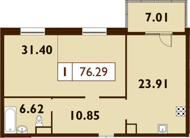 2-к.кв (евро), 79.79 м²