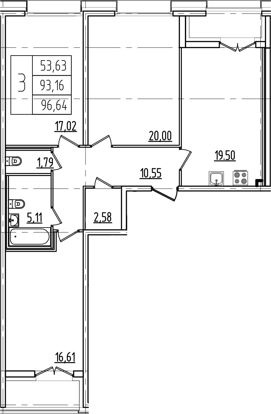 4Е-комнатная, 96.64 м²– 2