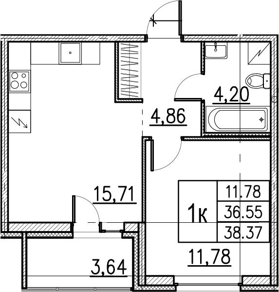 2Е-комнатная, 38.37 м²– 2