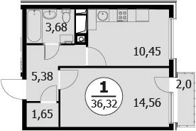 1-к.кв, 37.72 м²