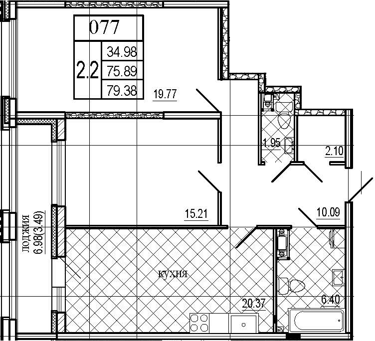 3Е-к.кв, 79.38 м²