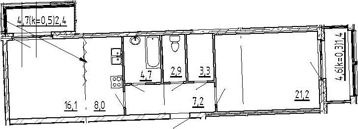 2-к.кв, 67.7 м², 3 этаж