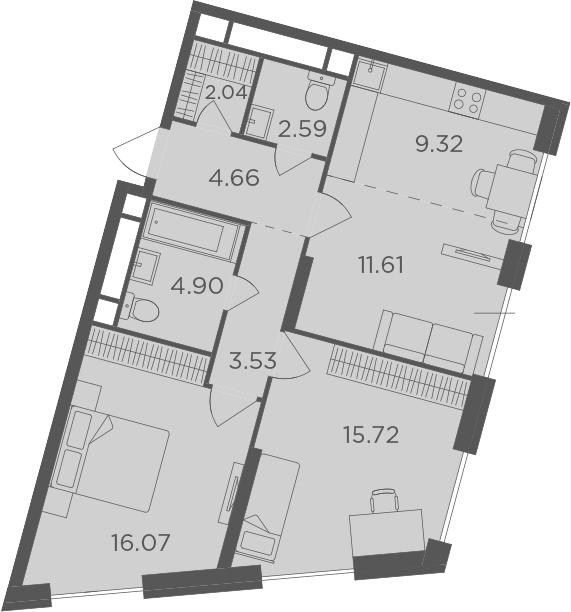 3Е-к.кв, 68.38 м², 30 этаж