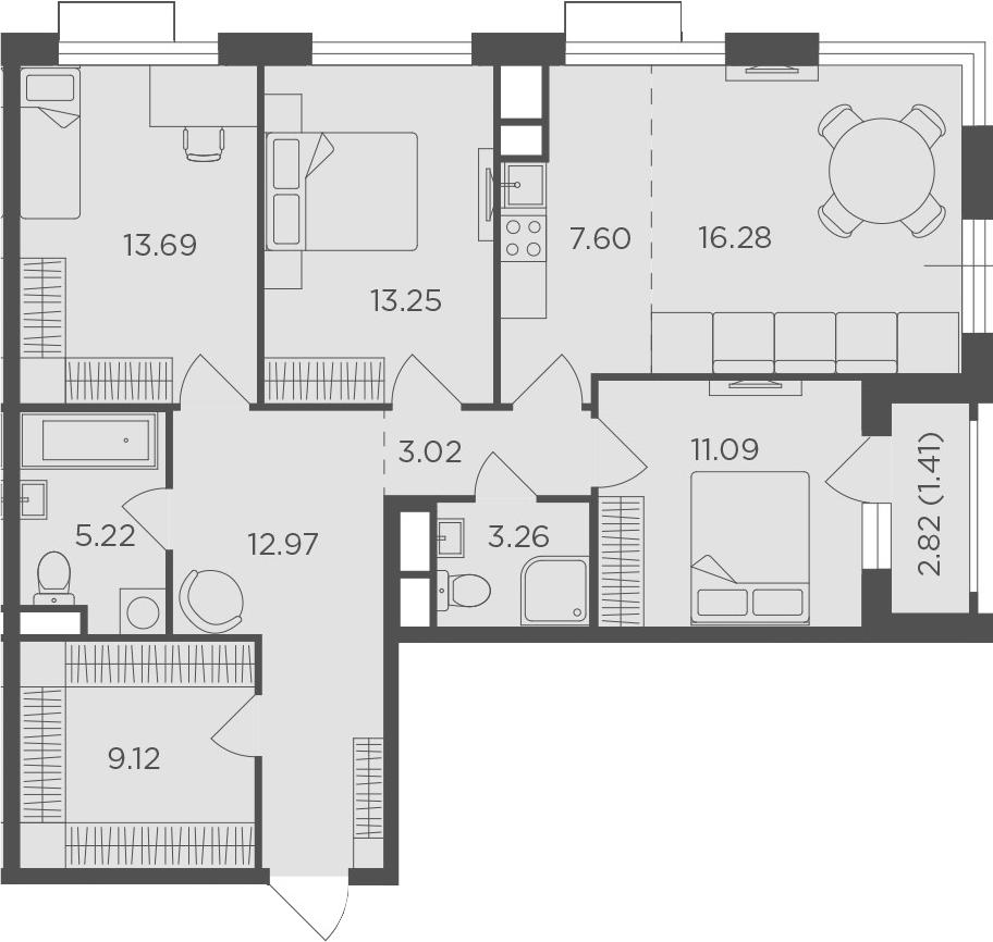 4-к.кв (евро), 98.32 м²