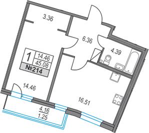 2Е-к.кв, 45.08 м², 17 этаж