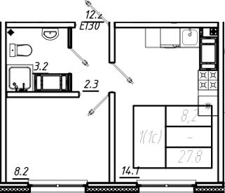 1-к.кв, 27.8 м², от 8 этажа