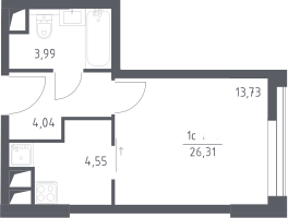 Студия, 26.31 м²– 2