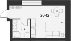 Студия, 25.12 м²