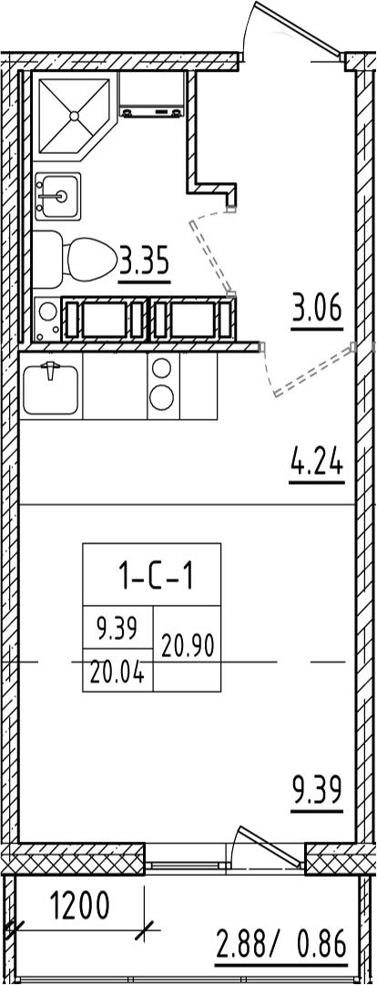 Студия, 20.92 м²