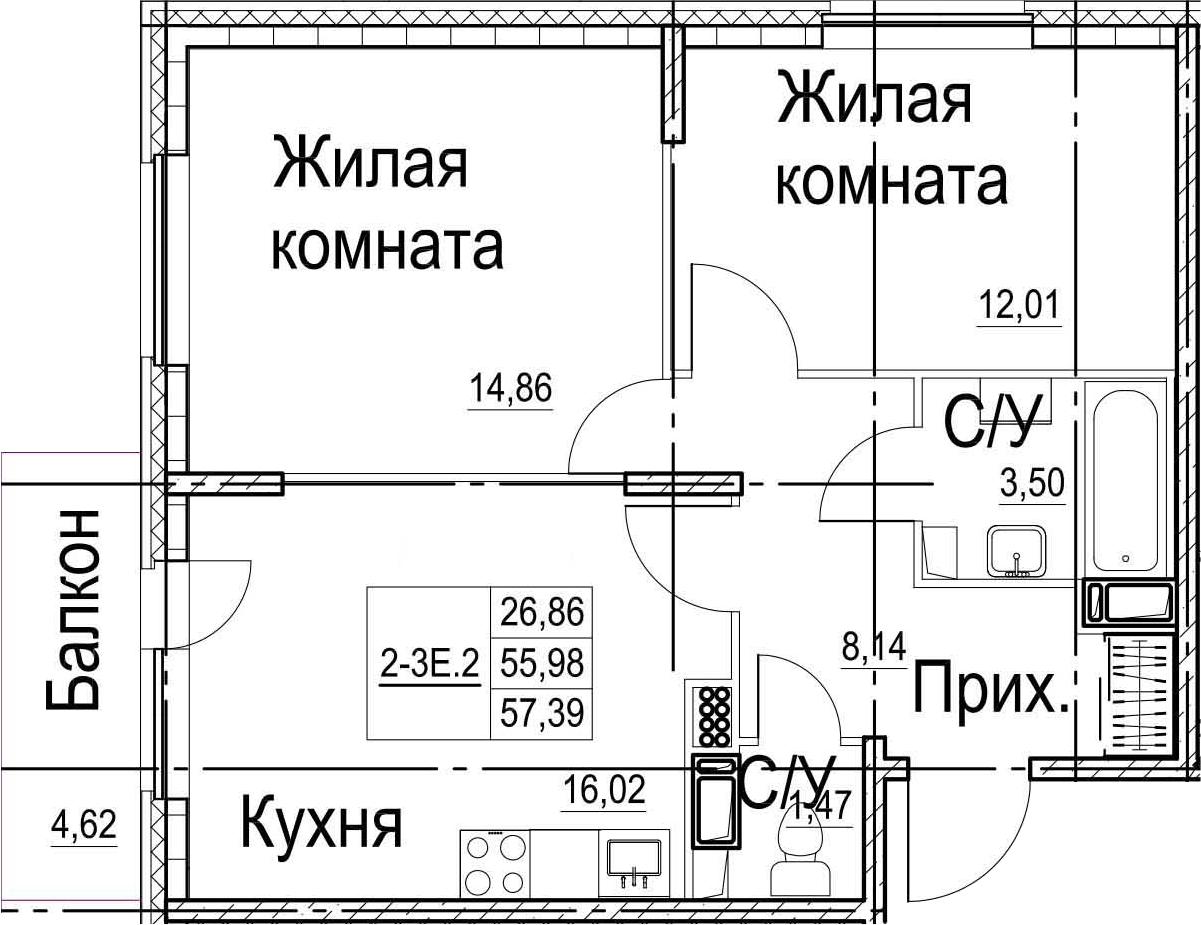 3-к.кв (евро), 60.62 м²