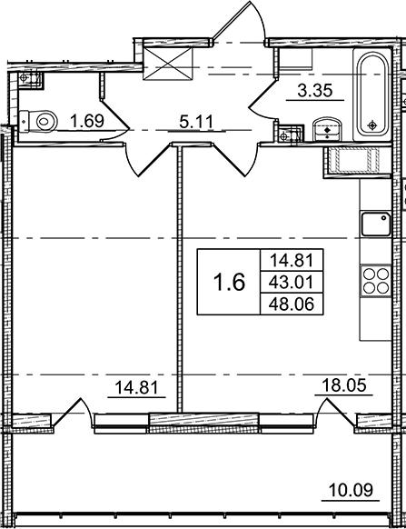 2Е-комнатная, 43.01 м²– 2