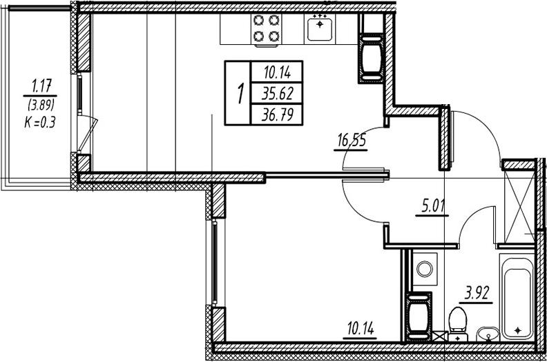 2-к.кв (евро), 39.51 м²