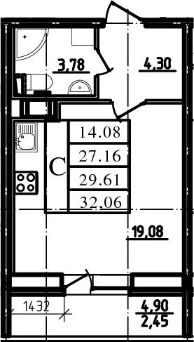 Студия, 27.16 м², 4 этаж