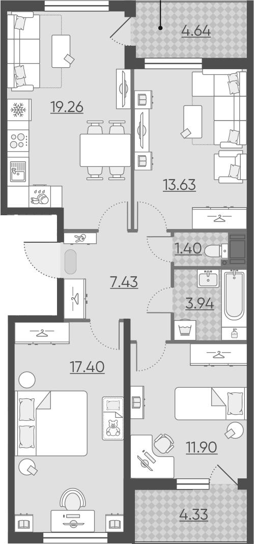 4Е-к.кв, 79.45 м², 15 этаж