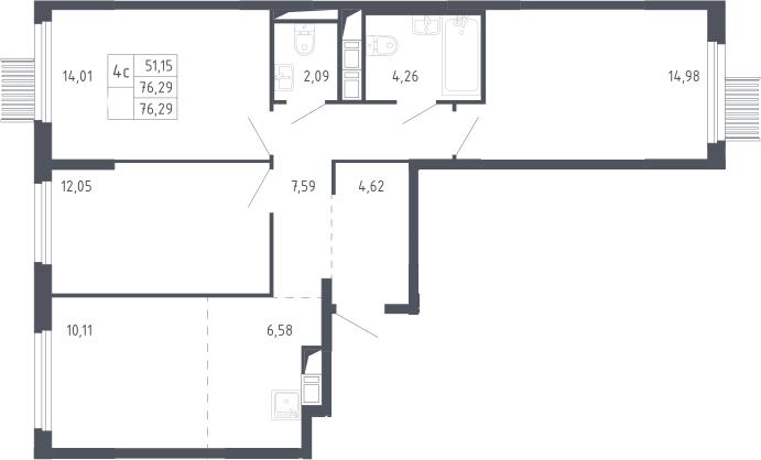 4Е-к.кв, 76.29 м²