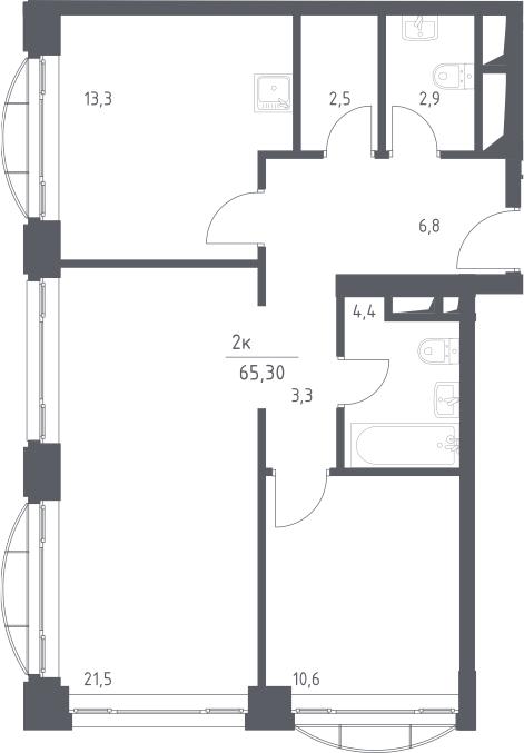 2-к.кв, 65.3 м², 9 этаж