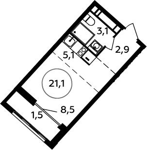 Студия, 21.1 м²– 2