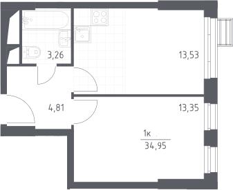 2Е-комнатная, 34.95 м²– 2