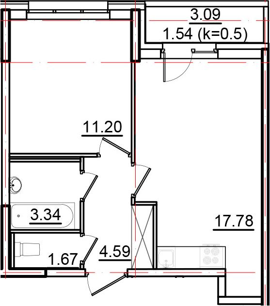 2Е-к.кв, 40.12 м²