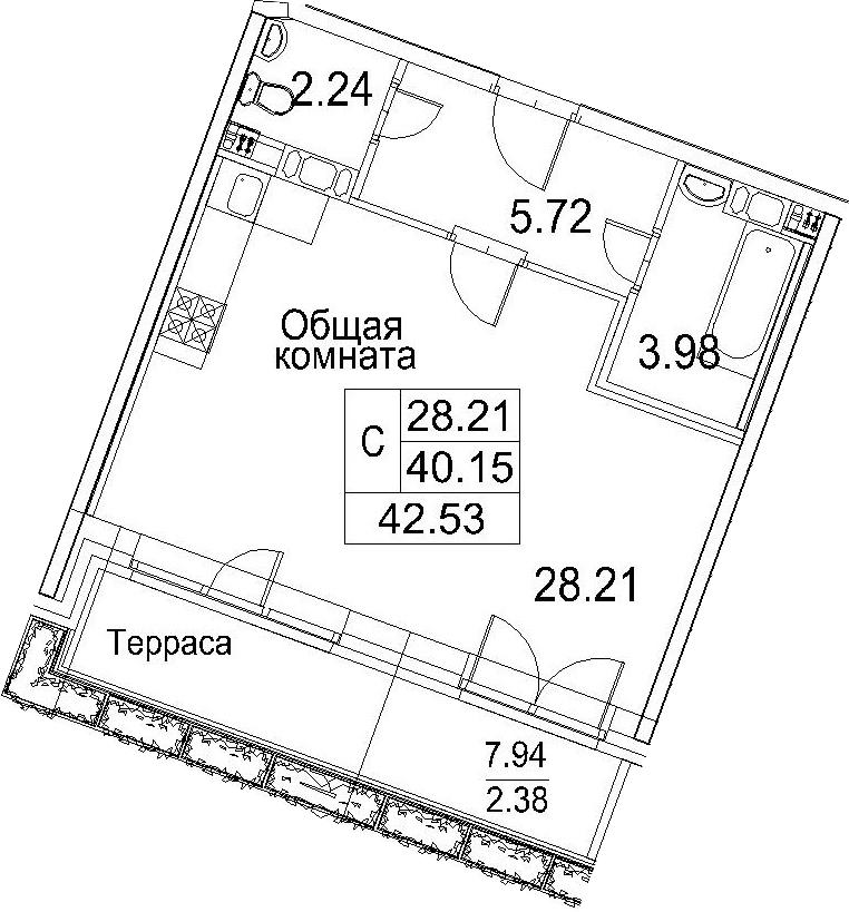Студия, 48.08 м²