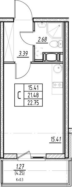 Студия, 21.48 м²– 2