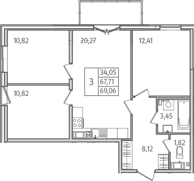 4Е-комнатная, 69.02 м²– 2