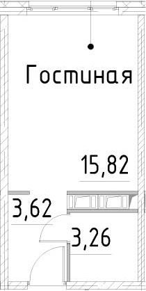 Студия, 22.7 м²