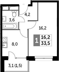 1-комнатная квартира, 33.5 м², 6 этаж – Планировка
