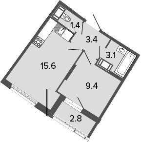 2-к.кв (евро), 35.7 м²
