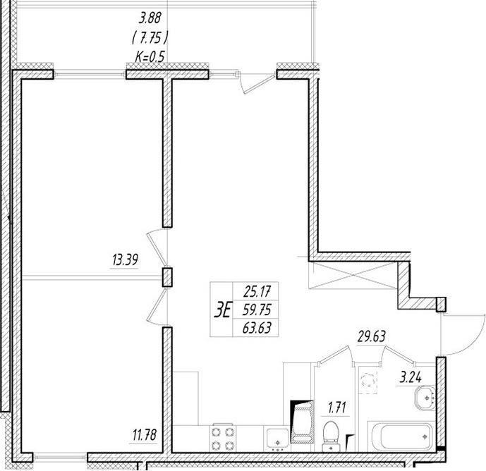 3-к.кв (евро), 67.5 м²