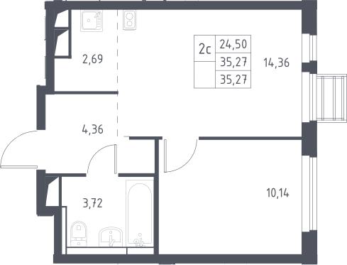 2Е-к.кв, 35.27 м²
