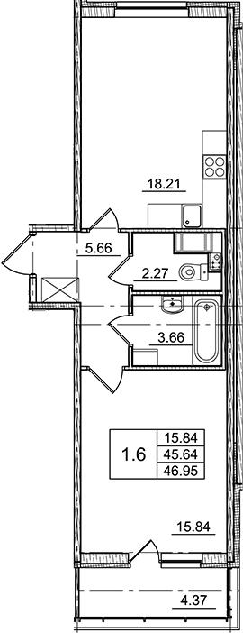 2Е-к.кв, 45.64 м²