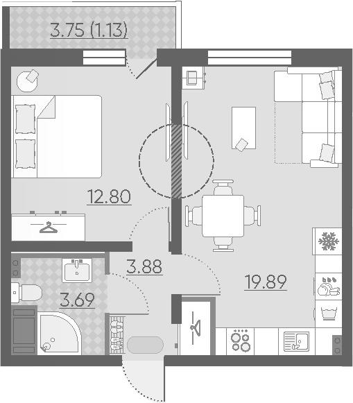 2-к.кв (евро), 42.52 м²