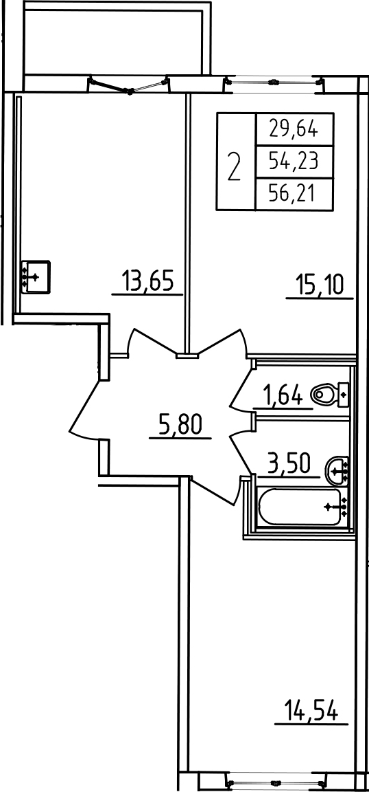 2-к.кв, 58.19 м²