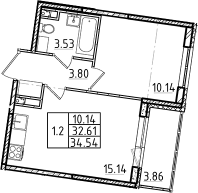 2Е-к.кв, 34.54 м²