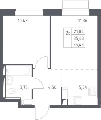 2Е-комнатная квартира, 35.43 м², 15 этаж – Планировка
