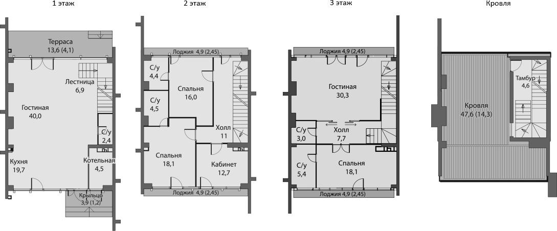 Таунхаус, 238.2 м², 1 этаж