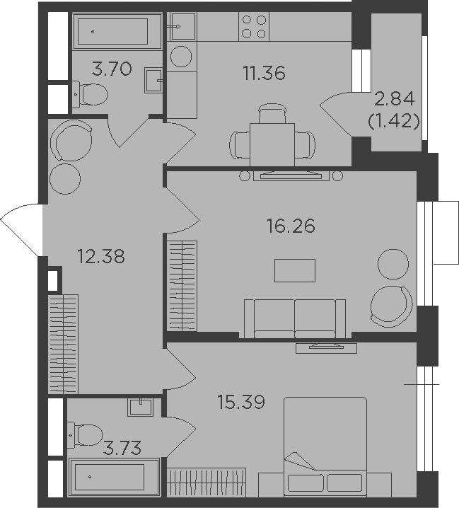 2-к.кв, 64.24 м², 15 этаж