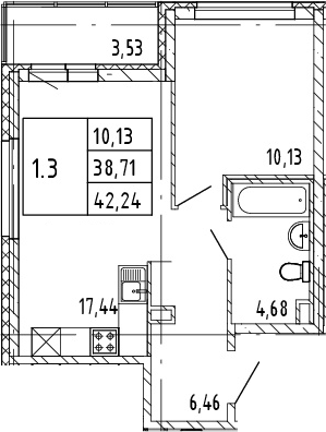 2Е-к.кв, 42.24 м²