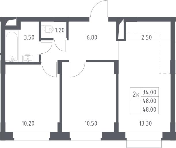 3Е-к.кв, 48 м², 2 этаж