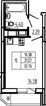 Студия, 22.76 м²