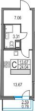 Студия, 24.04 м², 5 этаж