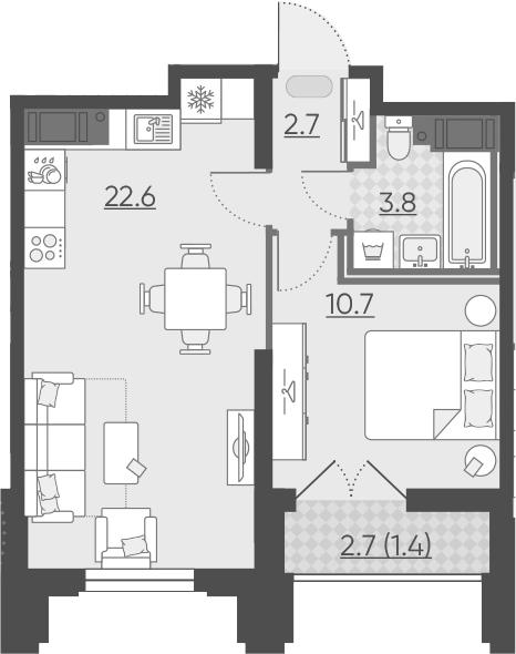 2Е-к.кв, 41.2 м²