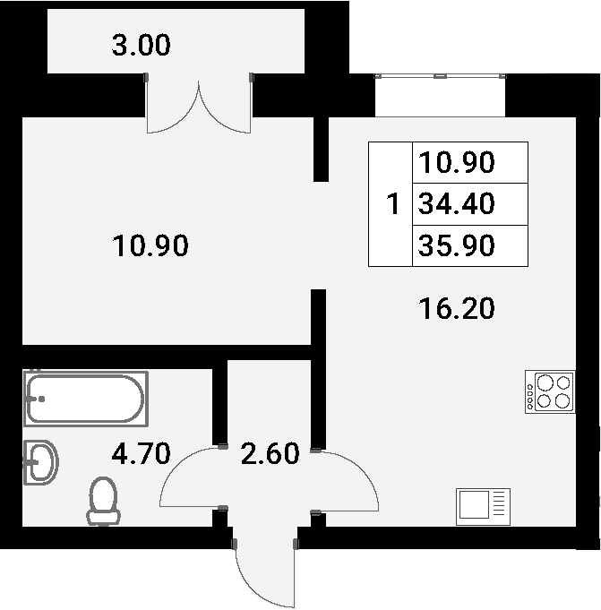 2Е-к.кв, 35.9 м²