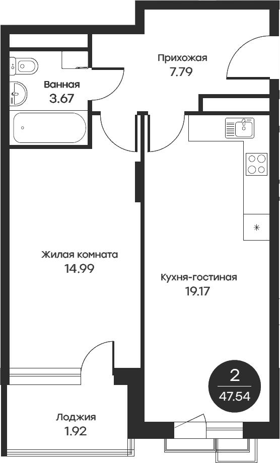 2Е-комнатная, 47.54 м²– 2