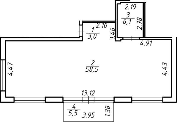 Свободная планировка, 69.25 м²– 2