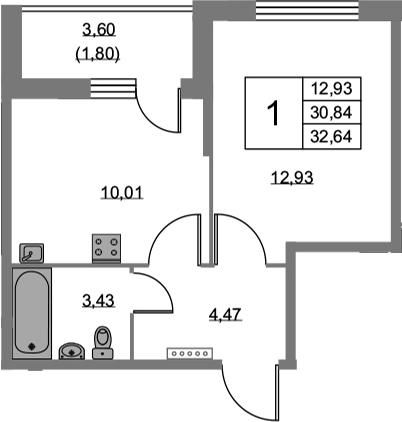 1-к.кв, 34.44 м²