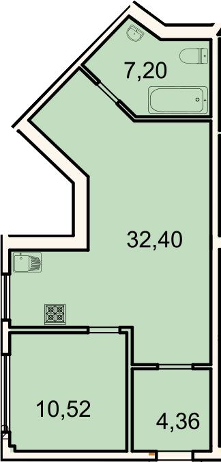 2-к.кв (евро), 54.5 м²
