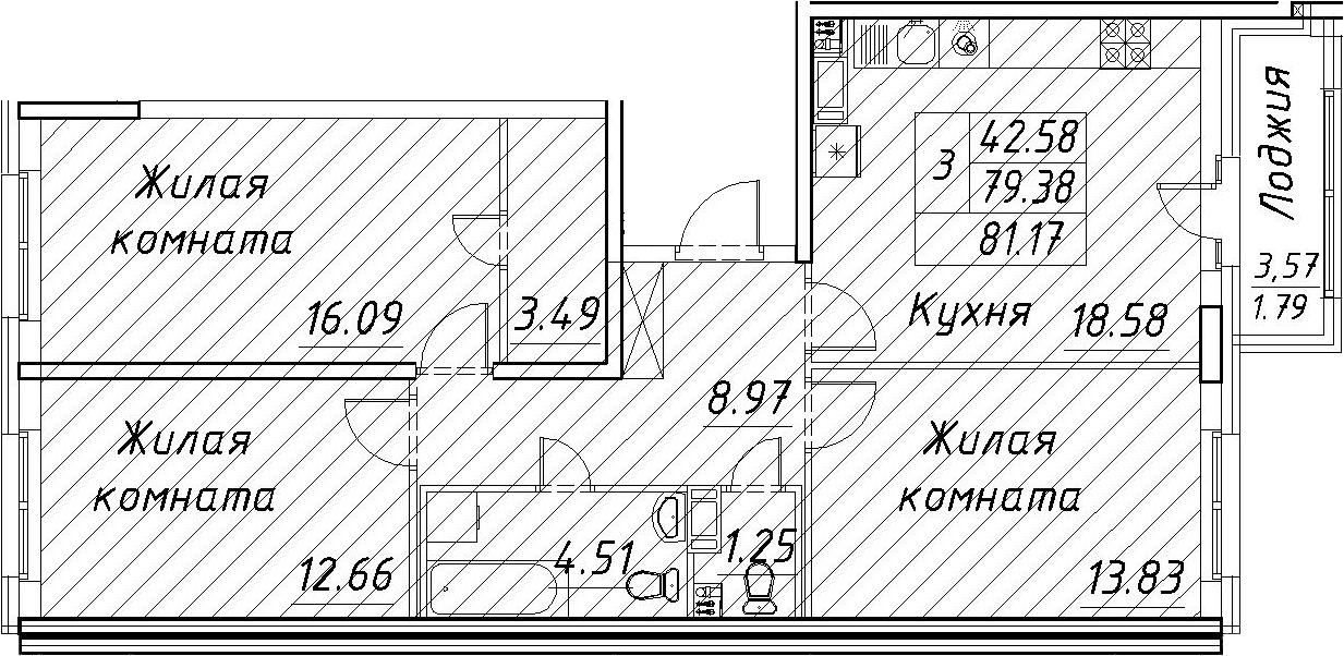 4Е-к.кв, 81.17 м², 12 этаж