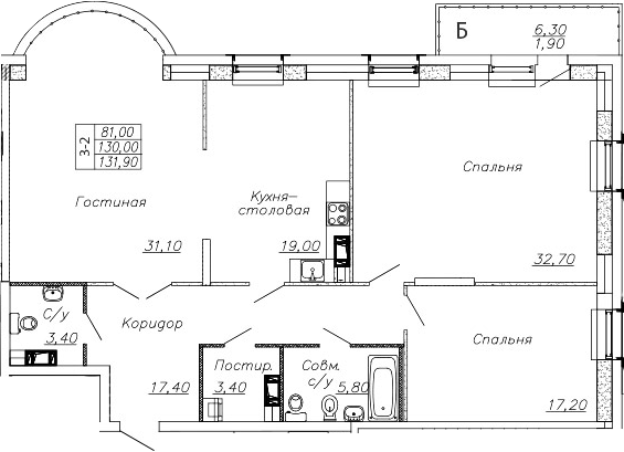 4-комнатная квартира (евро), 136.33 м², 3 этаж – Планировка